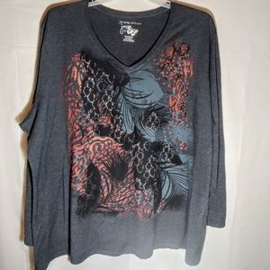 JMS Long Sleeve Grey Abstract Patterned T-Shirt 4X